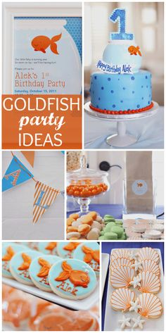 This fun Goldfish birthday party has lots of blue and orange colors and under the sea elements!  See more party ideas at CatchMyParty.com!