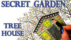 Secret Garden Tree House Coloring Book Tutorial -  Colored Pencil - Poly...