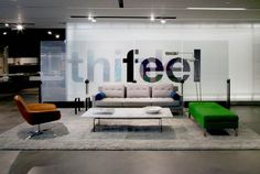 The Chicago Coalesse Showroom, Millbrae sofa, bench, tables and the Bob lounge.