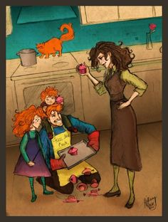 Ron, Rose and Hugo try to make a Motherss Day Gift for Hermione and this is how said person finds them. Arte Do Harry Potter, Harry Potter Artwork, Images Harry Potter, Harry Potter Ships, Harry Potter Anime, Harry Potter Universal, Harry Potter Fandom, Harry Potter World, Harry Potter Memes