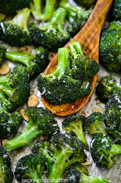 Crack Broccoli in 20 minutes! Broccoli tossed in olive oil, lemon, ranch seasoning, and salt, almonds and parmesan cheese. The BEST roasted broccoli vegetable served as a side dish.