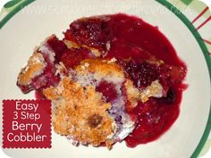 3-Step Easy Berry Cobbler Ingredients: 2 bags (12oz each) frozen mixed berries 1 box white cake mix (with no pudding in mix) 12 ounces Sprite or 7-Up
