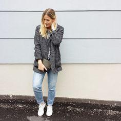 tifmys - Mango jacket, Daniel Wellington watch, Céline clutch, H&M denim & Adidas Stan Smith sneakers.