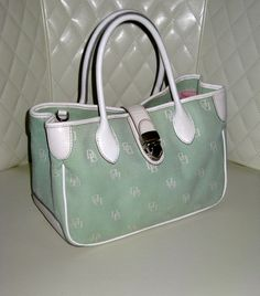 **RARE** Dooney & Bourke Signature Canvas Mint Green and White Leather Double Handle Tote GVC+. Starting at $29