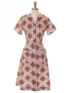 Vintage Housedress 100% Cotton Brown Print 1950s Penneys Brentwood Frock