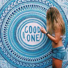 Good One | Denim Shorts | Denim Cut Offs | Levis | Bikini | Long Hair | Blonde | Wall Mural | Wall Quote | Graffiti | Blue | Mandala