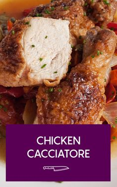 Serves: 4 ingredients 1 whole chicken, cut into 8 pieces 1 cup ml) flo Turkey Recipes, Meat Recipes, Vegetarian Recipes, Chicken Recipes, Dinner Recipes, Cooking Recipes, Healthy Recipes, Holiday Recipes, Cacciatore Recipes