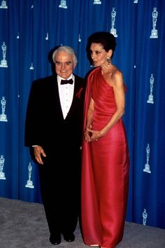 March 30, 1992, at the 64th Academy Awards in Los Angeles, California, Audrey Hepburn is with Jack Valenti - the then president of the Motion Picture Association of America. Audrey presented the award for Costume Design.