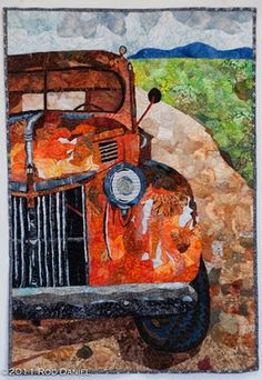 beautiful wall hanging art quilt of an old truck... love!