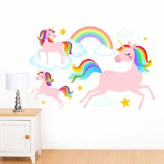 Dreamy Rainbow Unicorns, Clouds & Stars Mural Wall Sticker - Girl's Children's Art Vinyl Decal Transfer - Designed by Rubybloom Designs by RubybloomDesignsLtd on Etsy https://www.etsy.com/uk/listing/489718300/dreamy-rainbow-unicorns-clouds-stars