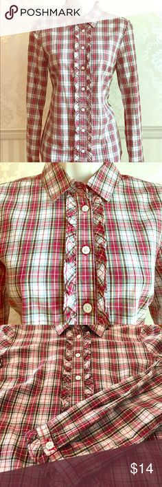 NWOT Tommy Hilfiger Ruffled Plaid Shirt Never worn Tommy Hilfiger classic plaid button down - perfect condition! Trimmed with feminine ruffles on the front and on the sleeve cuffs. So cute with a pair of dark skinny jeans! 100% cotton. Size small. Tommy Hilfiger Tops Button Down Shirts