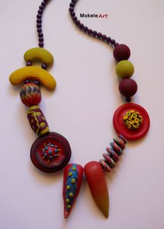 """Mokele Art - Necklace """"Soul colors"""" - Polymer clay 2013. Statement necklace, polymer clay beads, red necklace, handmade necklace"""