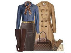 Chambray blouse paired with leather skirt and trench