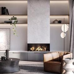 I've been a bit kitchen/bathroom obsessed of late, so it's time to throw seriously gorgeous lounge room inspo at you. who else could spend their evenings here? 🖤 Interior Design Architect in collaboration with Modern Fireplace, Living Room With Fireplace, Fireplace Design, Home Living Room, Living Room Designs, Living Room Decor, Living Spaces, Concrete Fireplace, Mim Design
