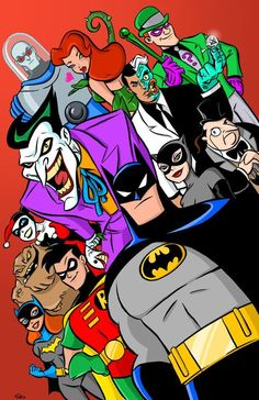 Batman the Animated Series Poster by Scoot Colored Pencils and inks by [link] Colors by me. Batman The Animated Series Poster By Scoot By Scoo Batgirl, Catwoman, Nightwing, Le Joker Batman, Batman Art, Superman, Batman Robin, Gotham Batman, Harley Quinn