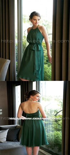 Elegant Halter A-line Natural Chiffon Bridesmaid Dresses prom dresses bridesmaid dresses bridesmaid dresses short prom dresses prom dresses