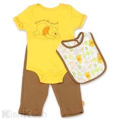 Winnie the Pooh Boys 3PC Set, Includes Creeper, Pants and Bib. #Disney #BabyClothes