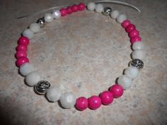 Hot Pink/White with pewter flower