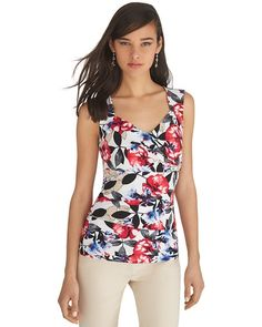 White House | Black Market Sleeveless Floral Tiered Shell Top #whbm @whbm