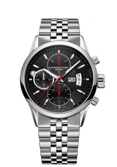 Freelancer 7730-ST-20041 Mens Watches - Automatic chronograph Steel on steel black dial http://www.raymond-weil.com/en/mens-watches/watch-finder/freelancer/freelancer-7730-st-20041/