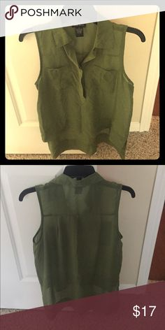 Hunter green high low top Sheer blouse, good to go over a cami Wet Seal Tops Blouses