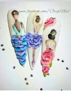 Best Nail Art Decorations To Choose Rose Nail Art, Rose Nails, Flower Nails, 3d Nail Art, 3d Nail Designs, Orange Nail Designs, 3d Acrylic Nails, 3d Nails, Pastel Nails