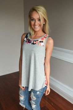 Don't Be Shy Floral Tank Top ~ Grey