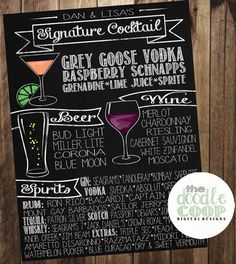 This is seriously awesome!! Personalized Wedding Bar Menu Sign Chalkboard by TheDoodleCoop, $40.00
