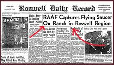 The Air Force tried to dispel headlines such as the one above by saying the metal-like scraps were from a weather balloon, not a UFO. The U.S. began dropping dummies made of latex over New Mexico years later, for something called Project Mogul, which made people suspicious — but in 1994, the files on the project were released to the public in an attempt to calm people down.—tootingtiger