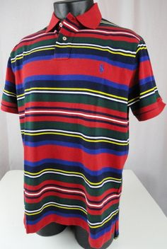 NWT Polo Ralph Lauren Mens XL Rugby Shirt SS Red Striped Custom Fit 100% Cotton #PoloRalphLauren #PoloRugby