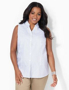 We designed our best-selling shirt into a classic cotton sleeveless shirt with yarndyed stripes for summer-ready style. Wrinkle-free fabric guarantees that you will never have to iron. Fold-over collar. Buttonfront opening. Slimming princess seams. Side slits at the hem. Catherines tops are perfectly proportioned for the plus size woman. catherines.com