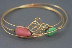 Pastels delight gold modern bangle bracelet set