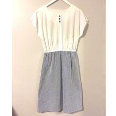 "Vintage Sersucker Dress Adorable Sersucker dress! Amazing condition for a vintage piece. Elastic waist. No size label. Measurements: waist relaxed- 27"". Waist stretched - 32"". Bust- 40"" Hips- 42"" Vintage Dresses"
