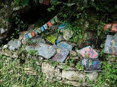 Stone tablets and Prayer flags in McLeod Ganj, Dharamsala, India #india #tibet #travel #Buddhism #Kamalan #culture #Dharamsala