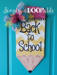 Pencil Wood Door Hanger from Simply aDOORable!  Back to School Door Hanger, Front Door Decor, Teacher Presents, Teacher Appreciation