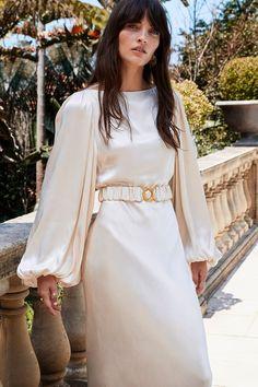La Lune Balloon Sleeve Midi Dress with Belt | Cream | Dresses | Shona Joy Elegant White Dress, White Midi Dress, Elegant Dresses, Formal Dresses With Sleeves, Midi Dress With Sleeves, Wrap Wedding Dress, Wedding Dresses, Bridesmaid Dresses, Bridesmaids