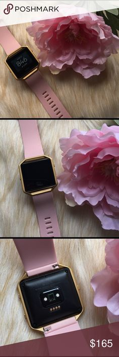 Fitbit Blaze Sport Smart Watch Gold and Pink Beautiful Fitbit Blaze, only a few months old and in perfect working condition! Get calls, text messages, and calendar alerts. Tracks calories burned, steps, miles, floors, heart rate, etc. Gold frame and blush pink silicone band, size large. Comes with charger. fitbit Accessories Watches