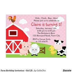 Farm Birthday Invitation - Girl (Pink) - Barnyard. Affiliate