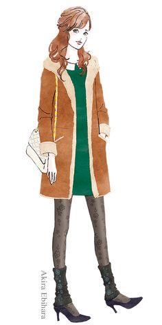 Fashion Illustration Akira Ebihara Client: ATSUGI CO., LTD.  アツギさんの今シーズンレッグウェアのファッションイラストです