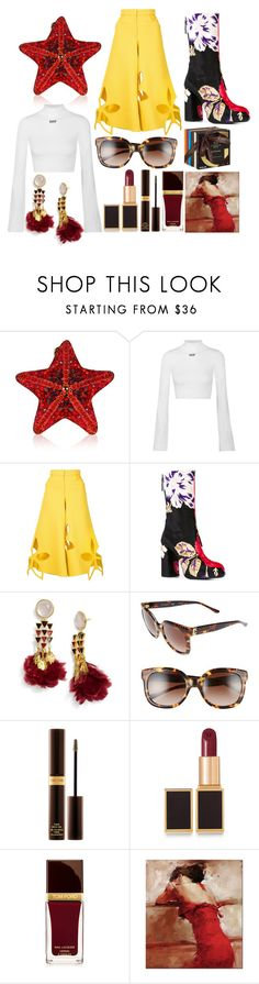 """""""Floral Platform Boots"""" by pulseofthematter ❤ liked on Polyvore featuring Judith Leiber, Off-White, Rosie Assoulin, MSGM, Tory Burch, Tom Ford and Godiva"""