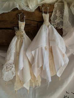 A series of assemblage art dresses . these are really pretty Fabric Art, Fabric Crafts, Sewing Crafts, Paper Dolls, Art Dolls, Creation Deco, Ideias Diy, Vintage Handkerchiefs, Fairy Dress