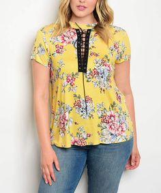 Bright and colorful | plus size top | plus size | #plussizetop #plussizeshirt #floral #plussizefloral #yellowshirt #laceuptop affiliate