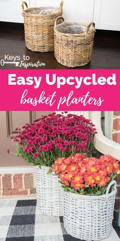 Easy upcycled basket planters. Turn old Goodwill baskets into bright and modern basket planters for your home. Easy way to paint using Fusion Mineral Paint.