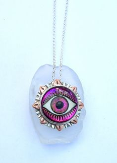 Glass Evil Eye Pendant, Designer Glass Eye Jewelry, Evil Eye Jewelry