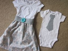 Custom made big sister dress  and little brother matching outfits with a matching hair bow... so cute!!
