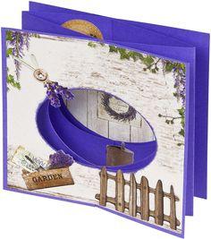 Uit het stansblok La Provence van StudioLight. Ovaal is een snijmal van BoekenVoordeel. Kaart is een eenvoudige Cascade-vorm, gemaakt met 2 vellen van 13,5 x 27cm. Patroon komt uit Cards&Scrap.