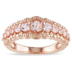 Miadora Rose-plated Silver 1ct TGW Morganite Ring - Overstock™ Shopping - Top Rated Miadora Gemstone Rings