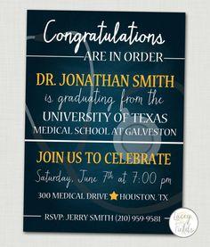 Medical school graduation announcement- nursing graduate announcement- nurse announcement party- doctor graduation party- med school