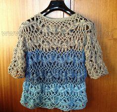 Marisa Tricot Crochet e Acessórios: Blusa em Crochet de Grampo - Projeto 2 Grupo Trama Mágica