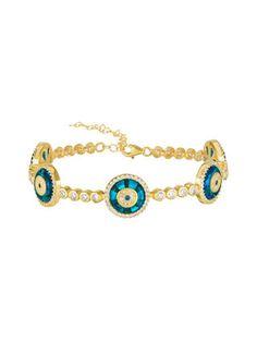 18K Gold Plated & Sterling Silver Evil Eye Tennis Bracelet by Sphera Milano   yellow gold   Gilt